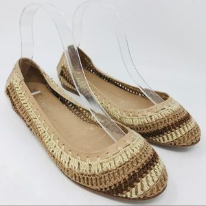 Jack Rogers Flats Woven Tan Brown Cream Whipstitch
